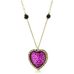Betsey Johnson Large Leopard Heart Pendant Necklace