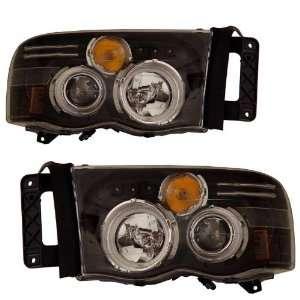 2005 Dodge Ram KS Black CCFL Halo Projector Headlights Automotive