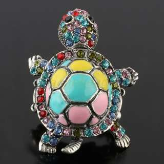 Tibetan Silver Crystal Rhinestone Turtle Adjustable Finger Ring 1PC