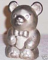 Bank   Silver Plate Metal Teddy Bear Figurine Leonard