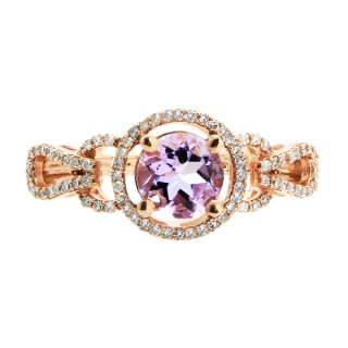 14K ROSE GOLD DIAMOND & PINK AMETHYST ENGAGEMENT RING