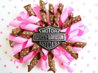 NEW Custom HARLEY DAVIDSON PINK bOuTiQuE Korker Hair Bow