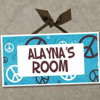 PERSONALIZED Kids Room Door Sign PEACE LOVE & GROOVY COLORS Cute Wall