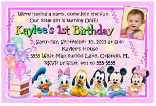 MINNIE MOUSE DISNEY BABIES 1ST BIRTHDAY INVITATIONS