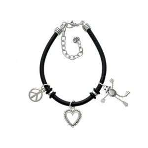 Silver Floppy Frog Black Peace Love Charm Bracelet Arts