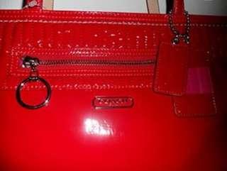 Large Tote Liquid Gloss Cherry Red 18674 handbag purse NWOT