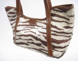 OCABA PARIS Brown Zebra Printed Tote Shoulder Handbag
