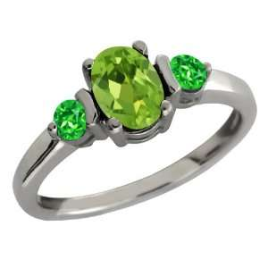 Oval Green Peridot and Green Tsavorite Sterling Silver Ring Jewelry