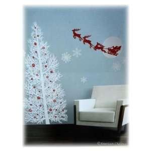 42 Silver Christmas Tree & Santa Wall Mural Sticker