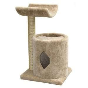 2 Tier Cat Scratching Post w Condo and Perch