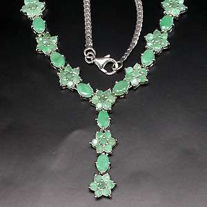 GRACEFULLY NATURAL TOP GREEN EMERALD 14K WHITE GOLD COATING 925