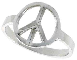 Sterling silver Peace Symbol Ring Band 925