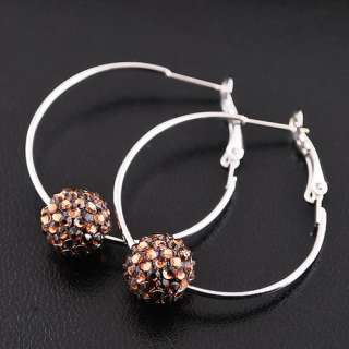 Basketball Wives Hoop Earrings 1Pair Disco Crystal Ball Bead Hip Hop
