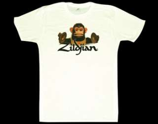 Zildjian Cymbals White Monkey Tee Shirt T Shirt Sizes S M L XL