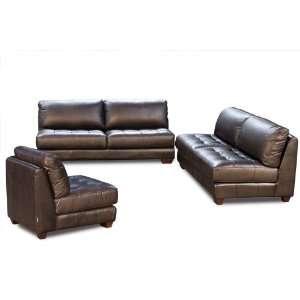 Diamond Sofa Zen Armless All Leather Tufted Seat Sofa