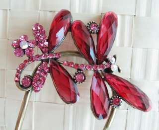 VARY COLORS SWAROVSKI CRYSTAL BRONZE TWO DRAGONFLY HAIR STICK PIN PICK