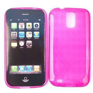 Samsung Hercules T989 PU Skin, Trans. Hot Pink Jelly Silicon Case