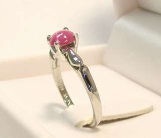 MINT 10K WHITE GOLD LINDE PINK STAR SAPPHIRE RING