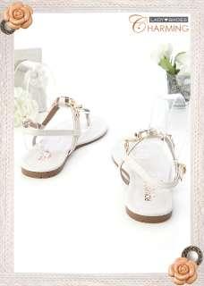 Womens Jeweled Flats Sandals Cream White