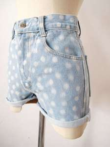 90s grunge ACID WASH polka dot HIGH WAIST Hotpants DENIM jean SHORTS