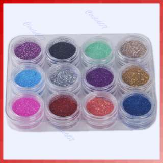 12 x Color Glitter Dust Powder Decoration Nail Art Tips