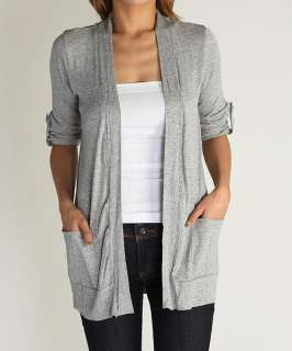 Rolled Long Sleeve Jersey OPEN CARDIGAN Light Weight Knit