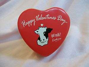 Valentines Day Got Milk Tin Heart shaped with cow on top