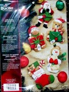 CHRISTMAS GIFT CARD ORNAMENTS Felt Ornament Kit OOP 5 Factory Direct