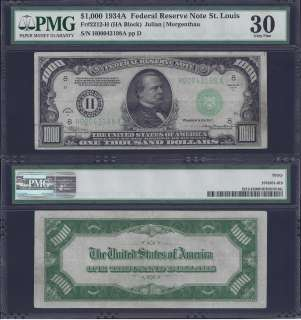 THOUSAND DOLLAR BILL FEDERAL RESERVE NOTE FRN PMG GRADED MONEY