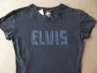 WOMENS S ELVIS PRESLEY BLACK T SHIRT small cap sleeve BLUE RHINESTONES