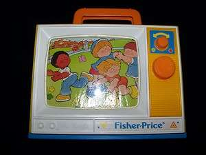 Fisher Price 1987 Musical TV vintage wind up toy London Bridge & Row