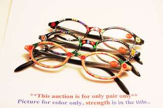 Oval Hand Painted Spring T. Reading Glasses 1.00 *R212