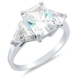 Solid 14k White Gold 3 Three Stone Emerald Cut Solitaire with trillion