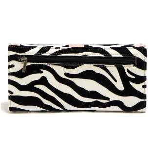 New Pink Zebra Rhinestone Buckle Checkbook Wallet Womens Clutch Wallet