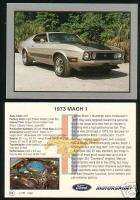 1973 73 FORD MUSTANG MACH 1 Car Picture Fact Card FPI