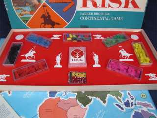 Vintage 1968 RISK Board Game Wooden Pieces Complete