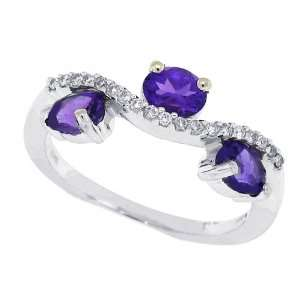 99Ct Three Stone Oval Amethyst Ring with Diamonds in 14Kt White Gold