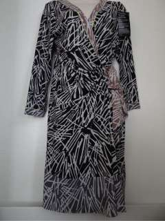 BCBG Max Azria new black printed wrap dress womens L