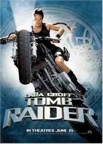 TOMB RAIDER LARA CROFT MOTORCYCLE POSTER Angelina Jolie