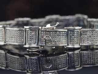 MENS BLACK GOLD FINISH BLACK DIAMOND BRACELET PAVE 3.5C