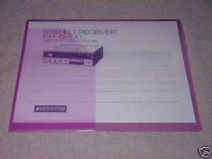 KENWOOD KR 5200 STEREO RECEIVER INSTRUCTION MANUAL