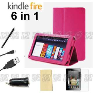 Kindle Fire PU Leather Case Cover/Car Charger/USB Cable/Protector