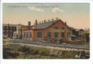 1908 Columbiana Pump Company Factory OH Ohio Postcard County Old