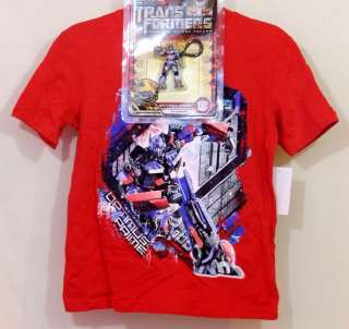 Boys Tee Shirt & Toy Keychain Gift Set Transformers Optimus Prime M