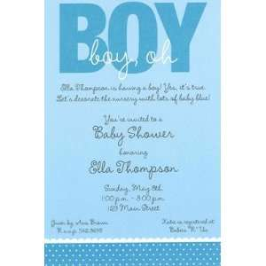 Oh Boy, Custom Personalized Baby Shower Invitation, by Inviting