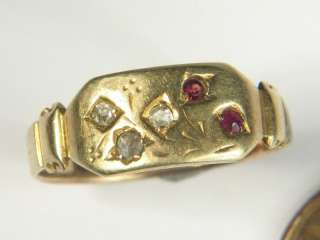 LOVELY ANTIQUE VICTORIAN ENGLISH 15K GOLD GARNET DIAMOND RING c1891