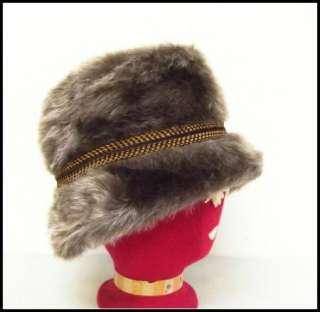 60s Vintage Brown Furry Faux Fur Plush Old Man Winter Hat Cap Banded