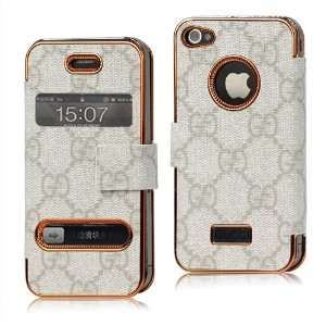 G Wallet Leather Flip Case for Iphone 4 4s   White Cell