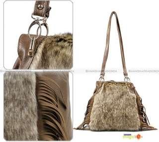 Women Fashion Vintage Faux Fur Tassel Crossbody Shoulder Bag New