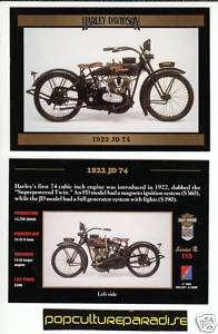 1922 HARLEY DAVIDSON JD 74 JD74 BIKE MOTORCYCLE CARD